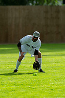 KELOWNA, CANADA - JUNE 28: Former NHL player Brian Gionta warms up during the opening charity game of the Home Base Slo-Pitch Tournament fundraiser for the Kelowna General Hospital Foundation JoeAnna's House on June 28, 2019 at Elk's Stadium in Kelowna, British Columbia, Canada.  (Photo by Marissa Baecker/Shoot the Breeze)