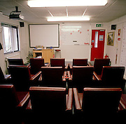 Empty crew briefing room belonging to the Red Arrows, Britain's RAF aerobatic team after a day's training flights.