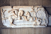 Hellenistic marble stone relief plaque hunting scene Roman Tetrapylon, Archaeological museum, Rhodes, Greece
