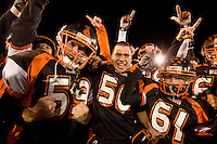 Vacaville High School football player react to their 39-35 win over Folsom High School  in the Sac Joaquin Section Division II Championship football game at Sacramento State University, Saturday Dec. 3, 2011..Brian Baer/Special to the Bee
