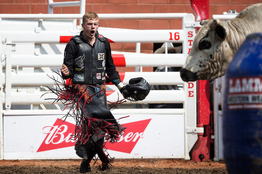 during the rodeo at the Calgary Stampede in Calgary, Alberta, Canada July 12, 2017. Todd Korol/The Globe and Mail