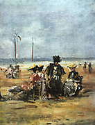On the Beach' (detail) c1863. Oil on board: Eugene Boudin (1824-1898) French landscape and marine painter.  Women  sitting in chairs on the sand.