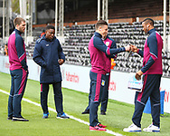 Aston Villa players examining the pitch before the Sky Bet Championship match at Craven Cottage, London<br /> Picture by Richard Brooks/Focus Images Ltd 07947656233<br /> 17/04/2017