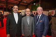 Ambassodor's reception at Holiday World RDS 2019 Friday.<br /> Pic shows Mojtaba Alibabaee(First Counsellor Iran),<br /> Massod Eslami (Ambassador Iran) and <br /> Pat Dawson (ITAA CEO) at the event today.<br /> Pic Gary Ashe.25/1/2019