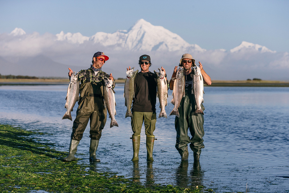 Darren Berrecloth, Tyler McCaul and Shin Campos poses for a portrait in Dry Bay, Alaska on September 10, 2016.