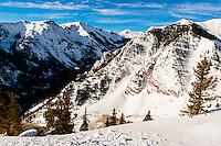 Maroon Bells, Aspen/Snowmass ski resort, Snowmass Village, Colorado USA.