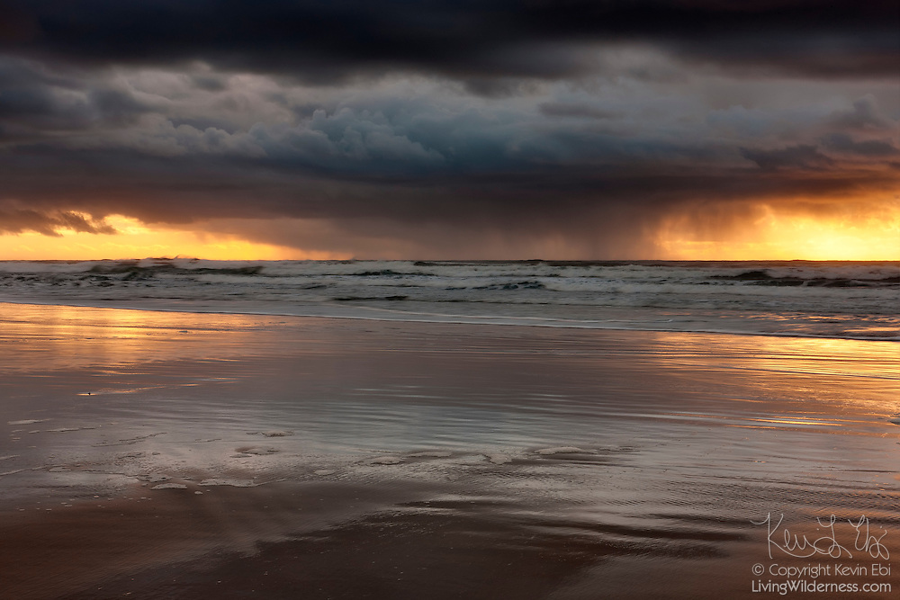 A heavy rainstorm builds over the Pacific Ocean near Manzanita, Oregon.