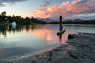 Sunset at Tavistock Point and the junction of  Bedford Channel and the Fraser River at Brae Island Regional Park in Langley, British Columbia, Canada