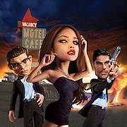 Caricature: In this supernatural crime TV series D.J. Cotrona and Zane Holt play the Gecko Brothers running from the law when they encounter Eliz Gonzales as Santánico Pandemonium, the stripper vampire. Originally Created for Penthouse TV Review.