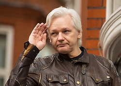 Julian Assange gestures as he speaks from the balcony of the Ecuadorian embassy in London after a seven-year investigation in Sweden against the WikiLeaks founder was suddenly dropped.