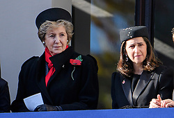 © Licensed to London News Pictures. 13/11/2016. London, UK.  NORMA MAJOR, wife of John Major and MARINA WHEELER, wife of Boris Johnson, attend a Remembrance Day Ceremony at the Cenotaph war memorial in London, United Kingdom, on November 13, 2016 . Thousands of people honour the war dead by gathering at the iconic memorial to lay wreaths and observe two minutes silence. Photo credit: Ben Cawthra/LNP