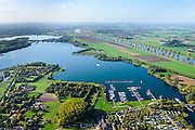 Nederland, Noord-Brabant, Gemeente Cuijk, 24-10-2013; Kraaijenbergse Plassen, de plassen zijn ontstaan door de winning van zand, grind en klei. Rechts de Maas<br /> Artificial lake, created by the extraction of sand, gravel and clay. River Meuse (re).<br /> luchtfoto (toeslag op standaard tarieven);<br /> aerial photo (additional fee required);<br /> copyright foto/photo Siebe Swart.