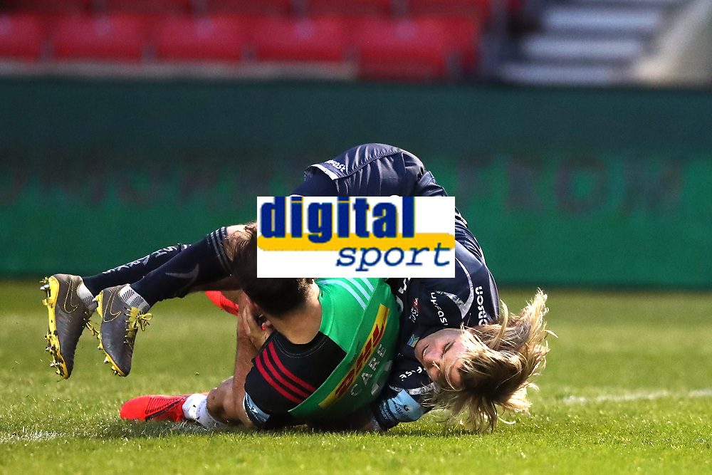 Rugby Union - 2018 / 2019 Gallagher Premiership - Sale Sharks vs. Harlequins<br /> <br /> Dany Care of Harlequins is held up by Faf De Klerk of Sale Sharks to prevent him scoring a try, at the AJ Bell Stadium.<br /> <br /> COLORSPORT/PAUL GREENWOOD