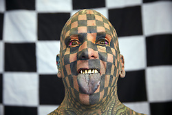 November 2, 2018 - Amsterdam, Netherlands - Matt Gone has his body completely tattooed, so he has obtained Guinness World Records in Amsterdam. During this event the best tattoo artists from all over the world meet to show their new techniques and creations. There are also musical shows, streptease, meetings about the world of tattooing. (Credit Image: © Nacho Calonge/NurPhoto via ZUMA Press)