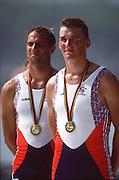 Barcelona,  SPAIN, left, Steve REDGRAVE and Matthew PINSENT Gold Medallist GBR M2- at the 1992 Olympic Regatta. Lake Banyoles, Nr Barcelona SPAIN,  [Photo, Peter Spurrier/Intersport-images]..       {Mandatory Credit: © Peter Spurrier/Intersport Images]