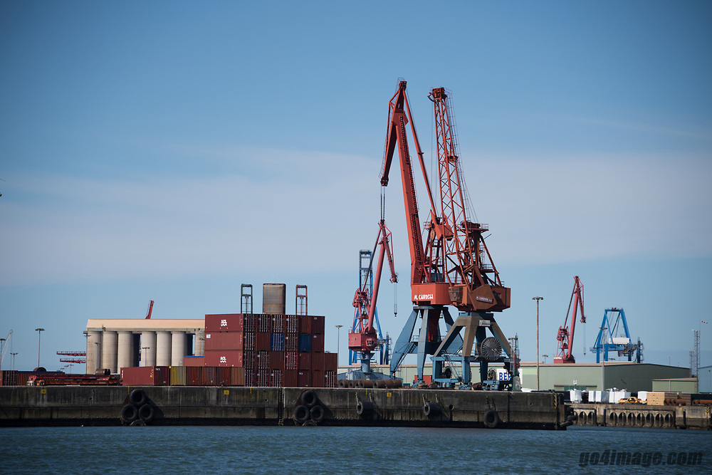 Spain, Bilbao, March 1st 2018, Harbour Cranes in Bilbao