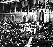 Franklin Roosevelt asks Congress to declare war on Japan, December 8, 1941. world war II