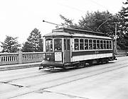 Y-470823-03.  Council Crest Trolley 508 crossing Vista bridge, looking NW. August 23, 1947
