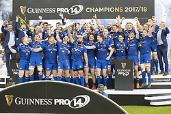 May 27, 2018 - Dublin, Ireland - Leinster rygby players celebrate during the Guinness PRO14 Final match between Leinster Rugby and Scarlets at Aviva Stadium in Dublin, Ireland on May 26, 2018  (Credit Image: © Andrew Surma/NurPhoto via ZUMA Press)