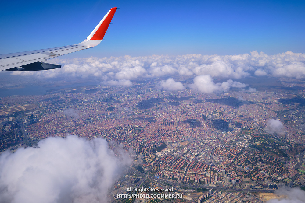 Istanbul view from airplane window