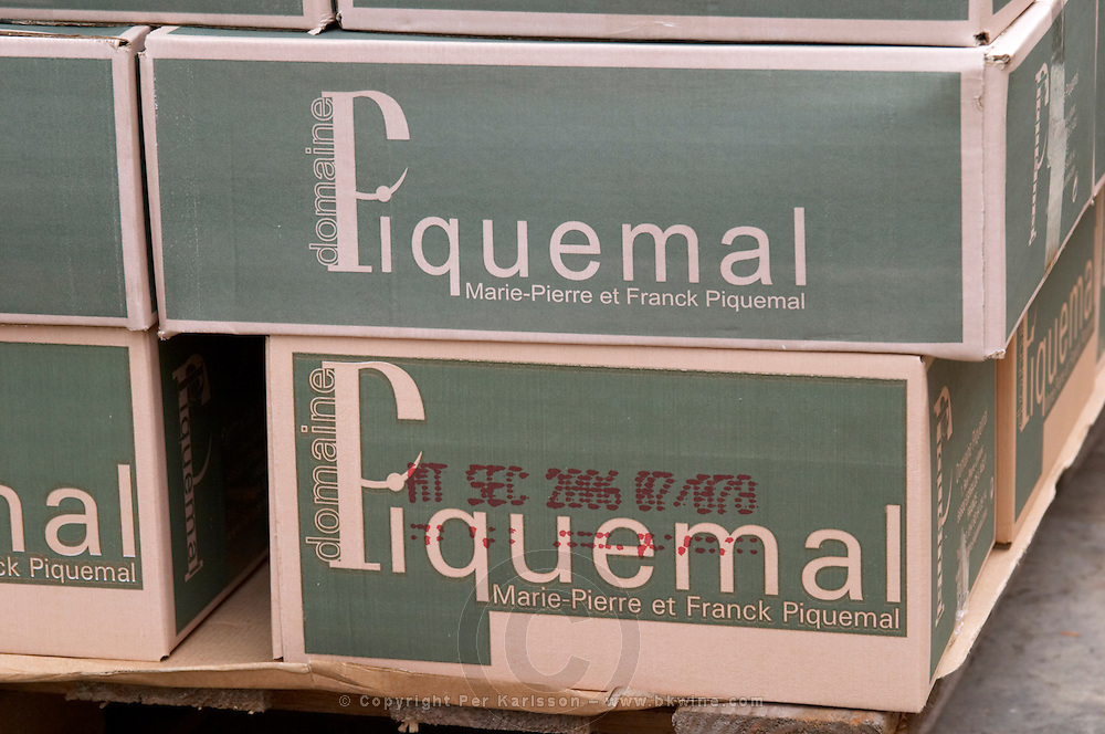 Bottles stored in the cellar. In cases. Domaine Piquemal, Espira de l'Agly, Roussillon, France