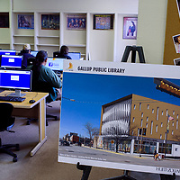 A rendering for a proposed new library is on display at the Octavia Fellin Public Library in Gallup Tuesday.