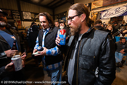 Jayson Moore and Chris Wade at Bill Dodge's Blings Cycles industry party during Daytona Bike Week. Daytona Beach, FL. USA. Wednesday March 14, 2018. Photography ©2018 Michael Lichter.
