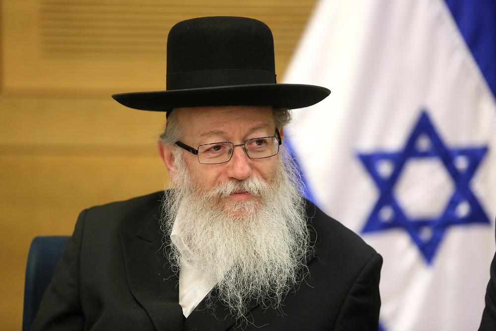 Israeli Minister of Health Yaakov Litzman, at the Knesset, Israel's parliament in Jerusalem, on February 8, 2016.