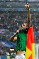 GOAL CELEBRATION - Northern Ireland's Gareth McAuley celebrates scoring the opening goal <br /> <br /> Photographer Craig Mercer/CameraSport<br /> <br /> International Football - 2016 UEFA European Championship - Group C, Ukraine v Northern Ireland - Thursday, 16th June 2016 - Stade de Lyon, Lyon, France<br /> <br /> World Copyright © 2016 CameraSport. All rights reserved. 43 Linden Ave. Countesthorpe. Leicester. England. LE8 5PG - Tel: +44 (0) 116 277 4147 - admin@camerasport.com - www.camerasport.com