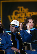 Comedian and actor Bill Cosby before giving the commencement address during graduation ceremonies at the George Washington University May 18, 1997 in Washington, DC.