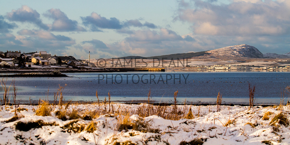 Both Bowmore and Port Charlotte are visible in this Islay Winter scene
