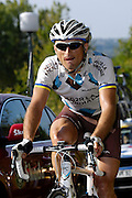 France, October 10 2010: An unidentified AG2R LA MONDIALE (ALM) rider on the Côte de l'Epan during the 2010 Paris Tours cycle race.  Copyright 2010 Peter Horrell