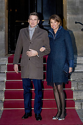 Prince Maurits and Princess Marilene of The Netherlands arrive for Princess Beatrix 80th birthday reception held at the Royal Palace on Dam Square in Amsterdam, Netherlands, February 3, 2018. Photo by Robin Utrecht/ABACAPRESS.COM