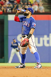 May 22, 2018 - Arlington, TX, U.S. - ARLINGTON, TX - MAY 22: Texas Rangers second baseman Rougned Odor (12) eats sunflower seeds between pitches during the game between the Texas Rangers and the New York Yankees on May 22, 2018 at Globe Life Park in Arlington, Texas. The Rangers defeat the Yankees 6-4. (Photo by Matthew Pearce/Icon Sportswire) (Credit Image: © Matthew Pearce/Icon SMI via ZUMA Press)