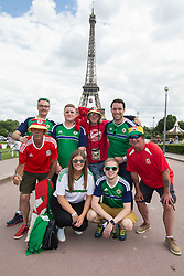 PARIS, FRANCE - Saturday, June 25, 2016: Wales and Northern Ireland supporters by the Eiffel Tower, Paris ahead of the match during the Round of 16 UEFA Euro 2016 Championship at the Parc des Princes. (Pic by Paul Greenwood/Propaganda)