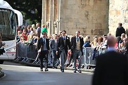 Caspar Jopling (centre right) arriving at York Minster for his wedding to singer Ellie Goulding.