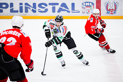 Eric Pance of Olimpija during ice hockey game between Team Jesenice and HDD Telemach Olimpija in 1st leg of Finals of Slovenian National Championship 2014, on March 31, 2014 in Arena Podmezakla, Jesenice, Slovenia. Photo by Vid Ponikvar / Sportida