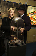 Polly Morgan and James Anderson, Opening of  Santa's Ghetto. Mixed art exhibition.  9 Berwick St. Soho, London. 30  November 2005. ONE TIME USE ONLY - DO NOT ARCHIVE  © Copyright Photograph by Dafydd Jones 66 Stockwell Park Rd. London SW9 0DA Tel 020 7733 0108 www.dafjones.com