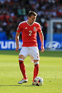 Chris Gunter of Wales in action. UEFA Euro 2016, last 16 , Wales v Northern Ireland at the Parc des Princes in Paris, France on Saturday 25th June 2016, pic by  Andrew Orchard, Andrew Orchard sports photography.