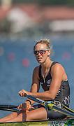 "Rio de Janeiro. BRAZIL.   NZL W1X. Emma TWIGG, at the start of her heat at the, 2016 Olympic Rowing Regatta. Lagoa Stadium,<br /> Copacabana,  ""Olympic Summer Games""<br /> Rodrigo de Freitas Lagoon, Lagoa.   Saturday  06/08/2016 <br /> <br /> [Mandatory Credit; Peter SPURRIER/Intersport Images]"