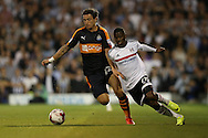 Floyd Ayite of Fulham runs past Daryl Janmaat of Newcastle United. Skybet EFL championship match, Fulham v Newcastle Utd at Craven Cottage in Fulham, London on Friday 5th August 2016.<br /> pic by John Patrick Fletcher, Andrew Orchard sports photography.