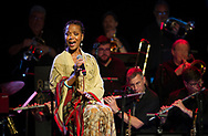 """Lisa Simone, daughter of the legendary singer Nina Simone, performs during a special """"Simone on Simone"""" show May 13, 2018, at the Muskiest Cafe in Bethlehem, Pennsylvania."""