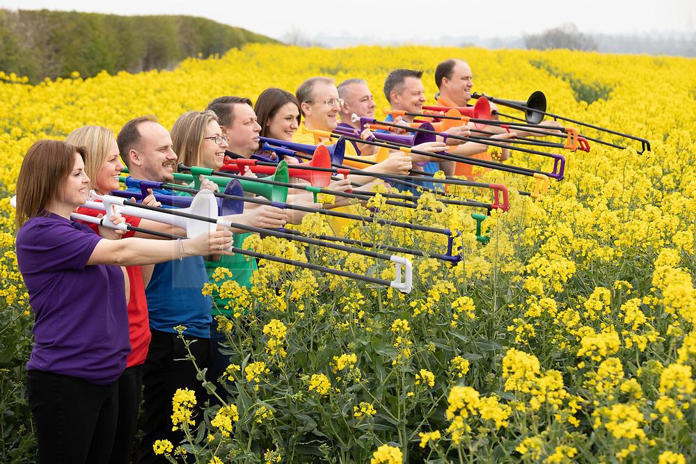 © Licensed to London News Pictures. 22/04/2019.Tamworth, Staffordshire, UK. STRICT EMBARGO: NOT TO BE PUBLISHED OR BROADCAST BEFORE 1 AM TUESDAY 23 APRIL 2019. The team behind the world's first plastic trombone, pBone, which has been awarded The Queen's Award for Enterprise for innovation. Warwick Music Group, which developed the trombone, is based near Tamworth in the West Midlands.<br /> In just five years, Warwick Music Group's team of musicians, entrepreneurs and enthusiasts became world-leaders and the dominant manufacturer of brass instruments created in recyclable ABS plastic. Their innovative approach has radically changed a sector of the music market that has experienced little change for two centuries.<br /> Based in West Midlands, England, Warwick Music Group (WMG) now spans four continents: North America, Europe, Asia and Oceania (Australia). <br /> Photo credit: Dave Warren/LNP