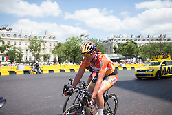 Chantal Blaak (NED) of Boels-Dolmans Cycling Team rides in the breakaway during the La Course, a 89 km road race in Paris on July 24, 2016 in France.