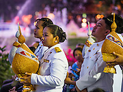 12 AUGUST 2016 - BANGKOK, THAILAND: Thai civil servants participate in a ceremony to mark the birthday of Queen Sirikit. Queen Sirikit of Thailand, was born Mom Rajawongse Sirikit Kitiyakara on 12 August 1932. She married  Bhumibol Adulyadej, King of Thailand (Rama IX) in 1950. He is the longest serving monarch in the world and she is longest serving consort of a monarch. Her birthday, like the King's Birthday (which falls on Dec. 5),  is a national holiday in Thailand. Her birthday, August 12, is also celebrated as Mother's Day in Thailand.     PHOTO BY JACK KURTZ