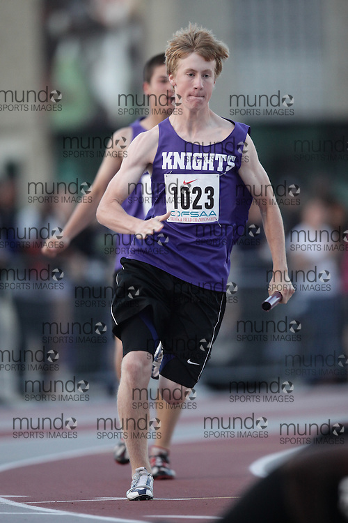 (London, Ontario}---04 June 2010) Josh Burtney of Lo-Ellen Park - Sudbury competing in the 4X 100 meter heats at the 2010 OFSAA Ontario High School Track and Field Championships. Photograph copyright Julie Robins / Mundo Sport Images, 2010.