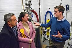 Pictured: Alex Cole-Hamilto, Rebecca Bell, LibDem prospective candidate for Dunfermline and West Fife with  Ian Stirling, one of the founders of the Port of Leith Distillery <br /><br />Scottish Liberal Democrat campaign chair Alex Cole-Hamilton outlined the party's plans to target new ground such as Edinburgh North and Leith, as well as recapturing the party's traditional Scottish heartlands in the snap election, as he toured a gin distillery in Edinburgh<br /><br />Ger Harley | EEm 25 November 2019