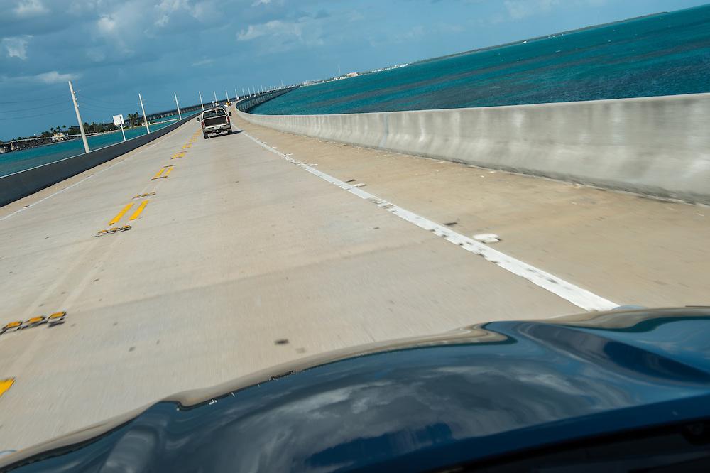Car crossing famous 7 mile bridge in the Florida Keys