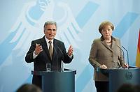 DEU, Deutschland, Germany, Berlin, 02.03.2011:<br />Bundeskanzlerin Angela Merkel und der Bundeskanzler der Republik Österreich, Werner Faymann, während einer Pressekonferenz im Bundeskanzleramt.