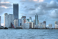 Buildings in Brickell Ave. in Miami. This is a high profile residential area in Miami, the location offers view of Biscayne Bay.
